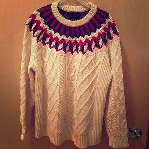 J Crew Cableknit Sweater with Fair Isle